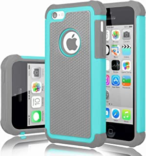 iPhone 5C Case, iPhone 5C Cover, Jeylly Shock Absorbing Hard Plastic Outer + Rubber Silicone Inner Scratch Defender Bumper Rugged Hard Case Cover For iPhone 5C - Turquoise