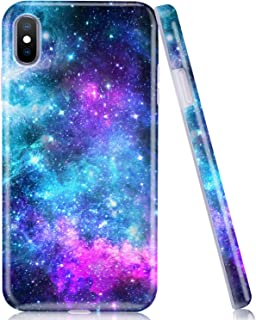 iPhone XS Max Case, Soft Phone Case for Apple XS Max, Emogins Cute Protective Cover with Blue Purple Space Galaxy Stars Universe Design, Premium Shockproof Lightweight TPU Silicone Shell