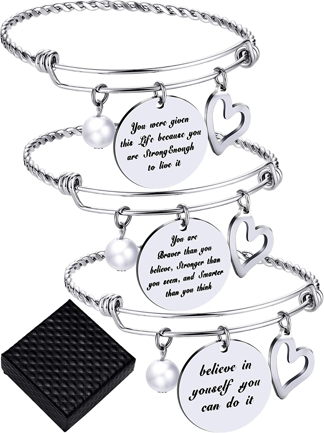 3 Pieces Inspirational Bangle Bracelets Adjustable Motivational Bracelet Stainless Steel Jewelry for Valentine's Day Women Gift