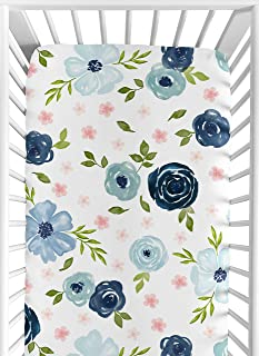 Sweet Jojo Designs Navy Blue and Pink Watercolor Floral Girl Fitted Crib Sheet Baby or Toddler Bed Nursery - Blush, Green ...
