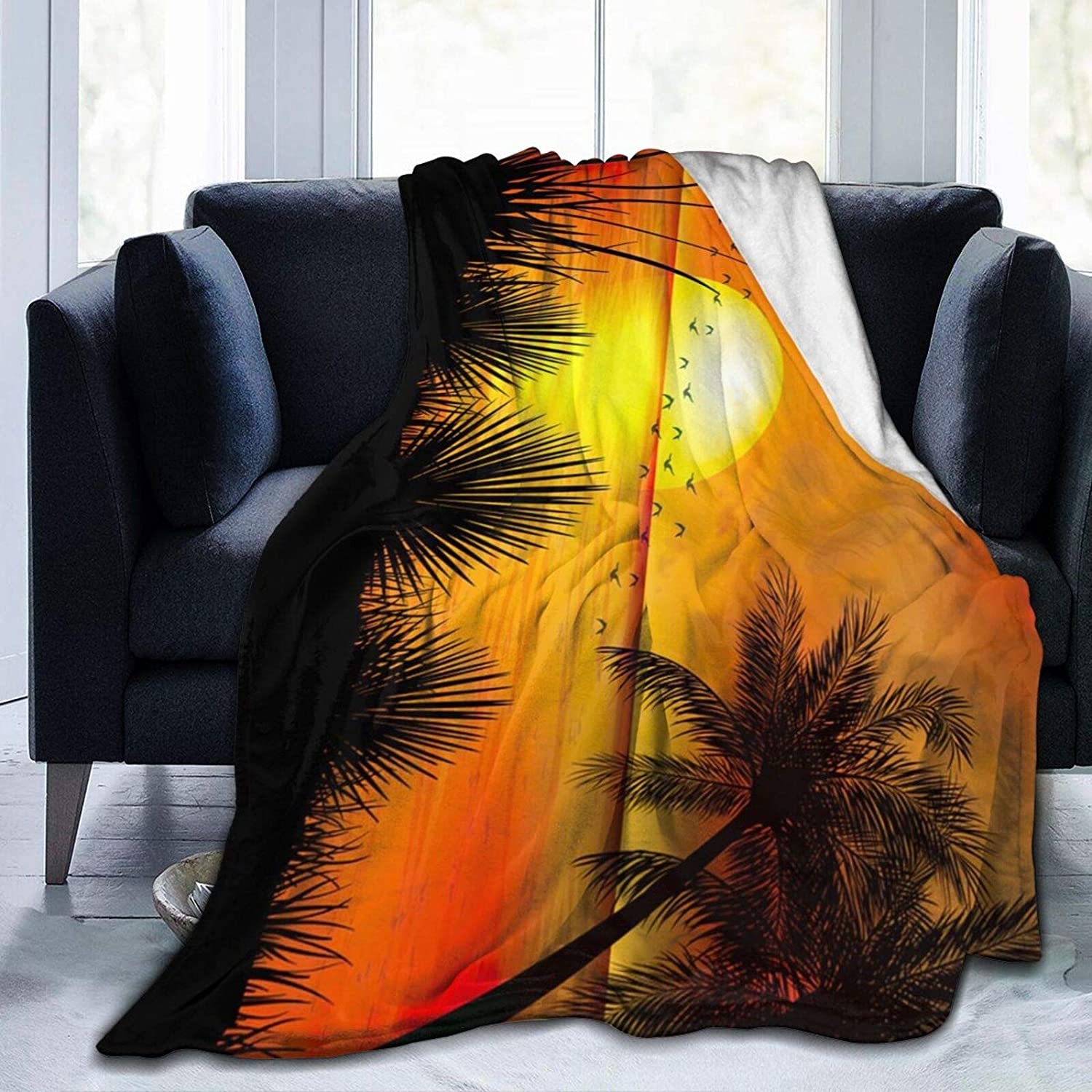 latest Tropical Sunset with Palm Trees Lig Blankets Microfiber Great interest Flannel
