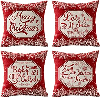 Andreannie Set of 4 Red Merry Snowflakes Let It Snow Baby It's Cold Outside Cotton Linen Throw Pillow Case Personalized Cushion Cover Decorative for Sofa Living Room 18x18 Inches(F)