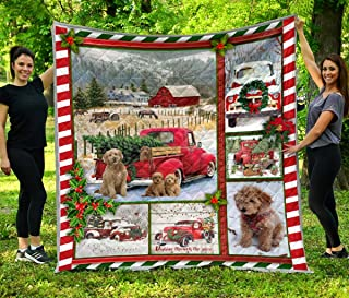 Goldendoodle Red Truck Christmas Pine Tree Quilt, All-Season Quilts Comforters with Reversible Cotton KingQueenTwin Size - Best Decorative Quilts-Unique Quilted (QB00067; Queen)