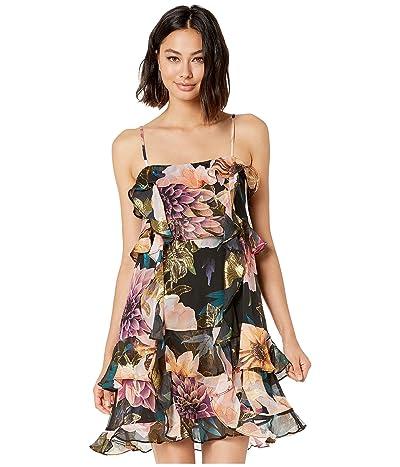 Nicole Miller Dahlia Bloom Lurex Ruffle Dress (Black Multi) Women