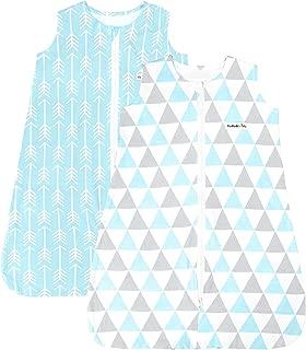 BaeBae Goods Sleep Bag Set for Baby Boys & Girls | Blue Grey Triangles Wearable Blankets | Baby Sleeping Bag (6-12 Months)
