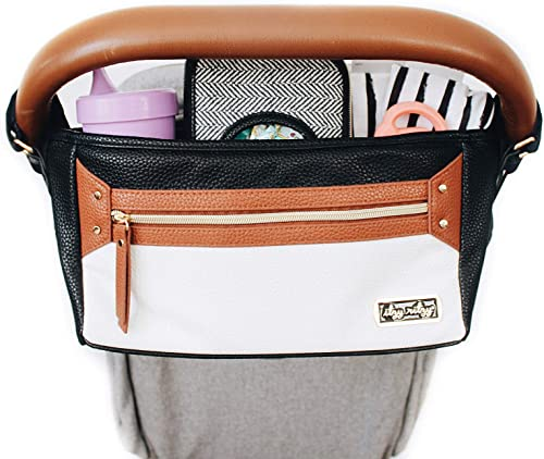 Itzy Ritzy Adjustable Stroller Caddy – Stroller Organizer Featuring Two Built-in Pockets, Front Zippered Pocket and A...