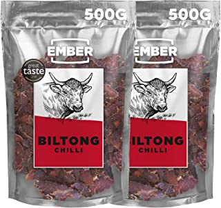 Ember Biltong 1KG Großbeutel - Beef Jerky Chili - Proteinreicher Snack - Chilli 2x500g