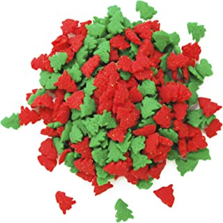 Dress My Cupcake DMC27276 Decorating Edible Cake and Cookie Confetti Sprinkles, Christmas Red and Green Trees, 2.6-Ounce