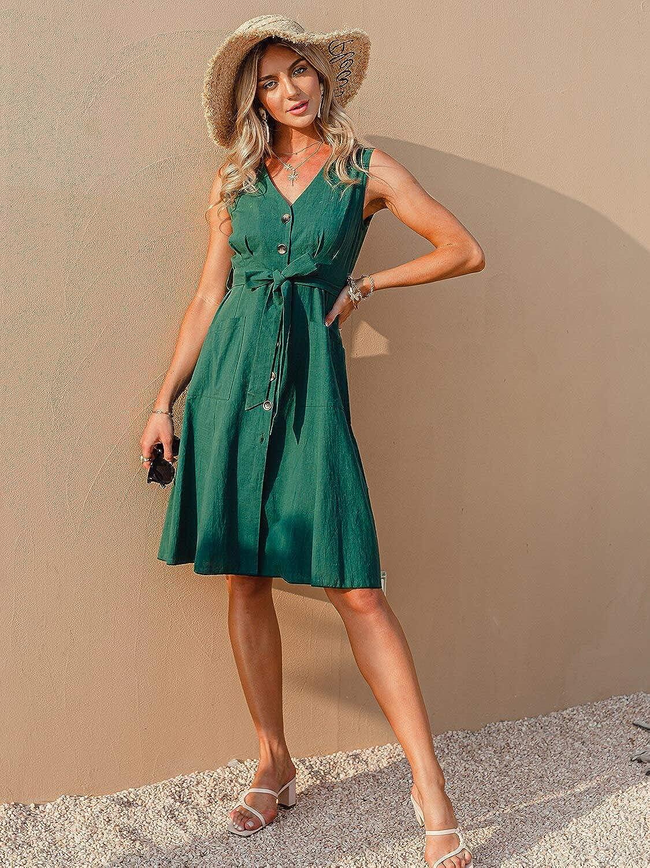 MulEtour Women's Casual Scoop Neck Sleeveless Midi Dress Button Down Drawstring Waist Split Summer Sun Dress