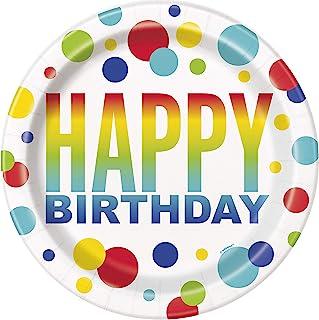 Rainbow Spot Birthday Paper Party Plates, 8 Ct.