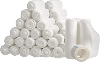 48 Gauze Bandage Roll for Wound Care, Large 4x4 Yards Stretched Sterile Medical Gauze Roll for Stretch Wrist Wraps, FDA Approved First Aid Supplies, Rolled Wrapping Gauze Pads. Bulk Bandages