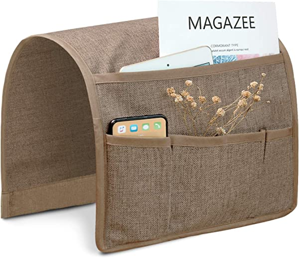 Joywell Sofa Armrest Pocket Organizer Couch Arm Chair Caddy With 5 Pockets For Magazine Books TV Remote Control Cell Phone Glasses IPad 13 X 35 Khaki