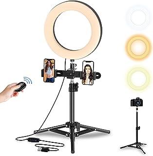 Selvim Anillo de Luz LED Fotografía, Aro de Luz de Escritorio con Trípode Alto y Extensible, 3 Modos 10 Brillos Regulables...