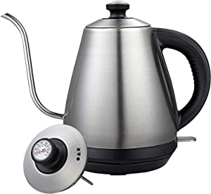 Electric Gooseneck Pour Over Coffee Kettle with Integrated Thermometer for for Drip Coffee and Tea, Stainless Steel Coffee Teapots Kettle, 1000W
