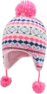 Connectyle Toddler Boys Girls Knit Kids Hat with Earflap Winter Beanie Hats