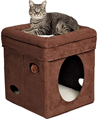 Midwest The Original Curious Cat Cube, Cat House/Cat Condo in Brown Faux Suede & Synthetic Sheepskin