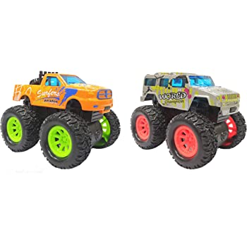 Popsugar Friction Powered Die Cast Monster Truck (2Pcs) with Rubber Wheels for Kids, Multiclolor