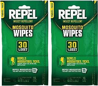 Repel 94100 Sportsmen 30-Percent Deet Mosquito Repellent Wipes, 2Packs of 15 Count each