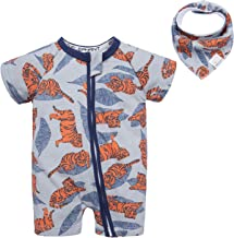 BIG ELEPHANT Baby Boys'1 Piece Summer Short Sleeve Pajama Graphic Zipper Romper