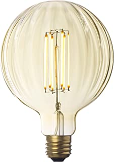 Faceted LED Globe Bulb, G40 Round Edison Light, Warm White Glow, Dimmable (E26) 4W, Damp Located, Indoor/Outdoor Use, UL Listed - Brooklyn Bulb Co. Myrtle Design