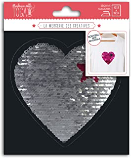 Miss Toga Heart Shape Iron-On Reversible Sequins, Silver and Fuchsia, Motif Size: 13 x 13 cm
