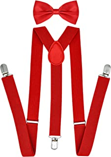 "Jiaqee Suspenders Bowtie Set X-back Suspender For Men with Bow Tie Elastic 1"" Wide Band"