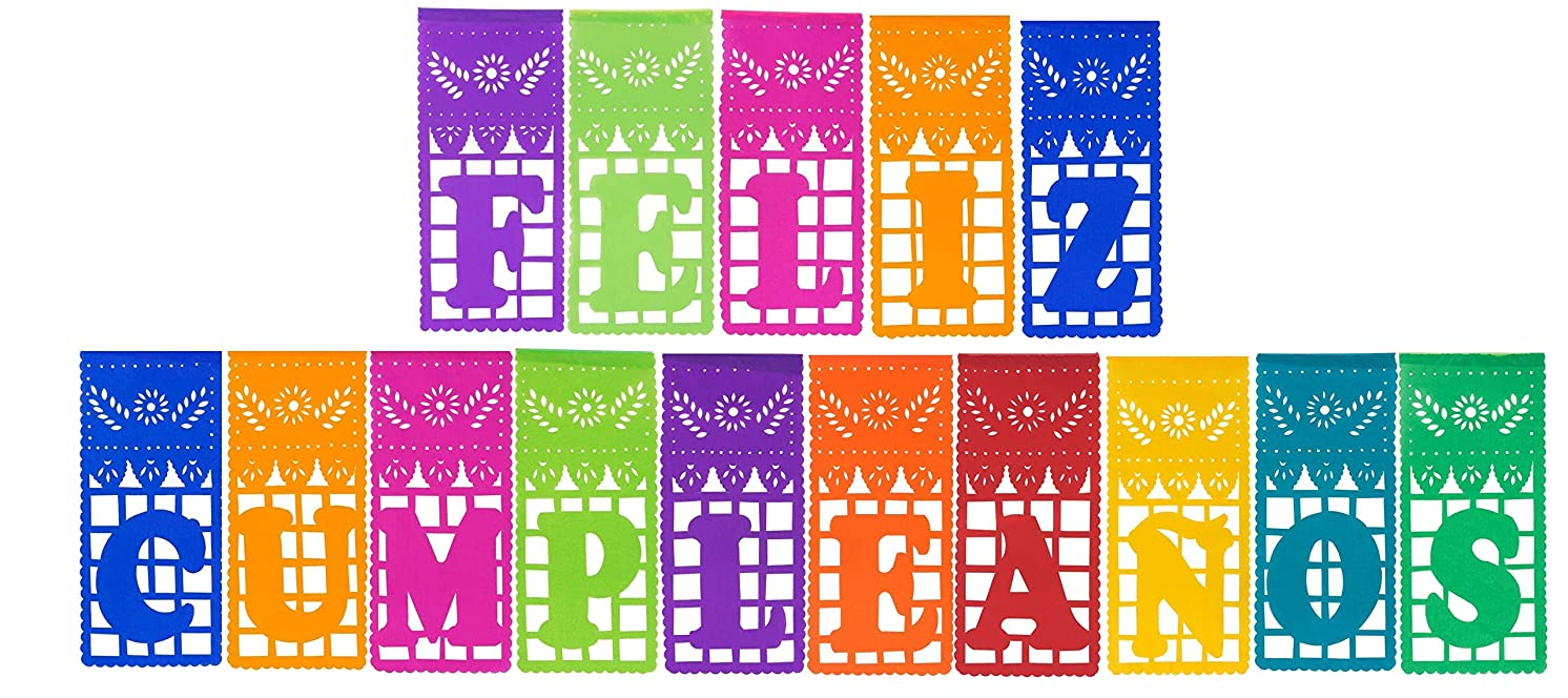 Multi-Colored Mexican Tissue Papel Picado Banner Feliz Cumplea?os by Paper Full of Wishes