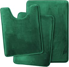 Clara Clark Memory Foam Bath Mat Ultra Soft Non Slip and Absorbent Bathroom Rug, Set of 3 - Small/Large/Contour, Hunter Green