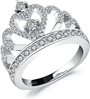 719f8333d2 Moneekar Jewels Princess Crown Ring White Gold Plated 925 Sterling Silver  Plated Rings for Women Girls
