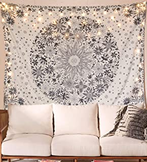 Neasow Bohemian Tapestry Wall Hanging, Beige White Floral Tapestry with Dotted Daisy..