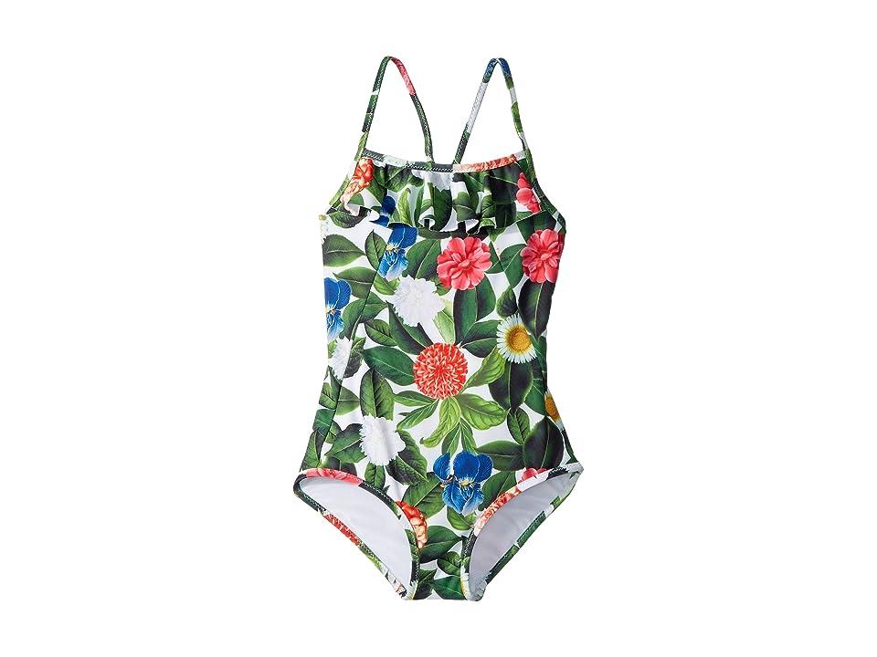 Oscar de la Renta Childrenswear Flower Jungle Ruffle Swimsuit (Toddler/Little Kids/Big Kids) (Spring Green) Girl