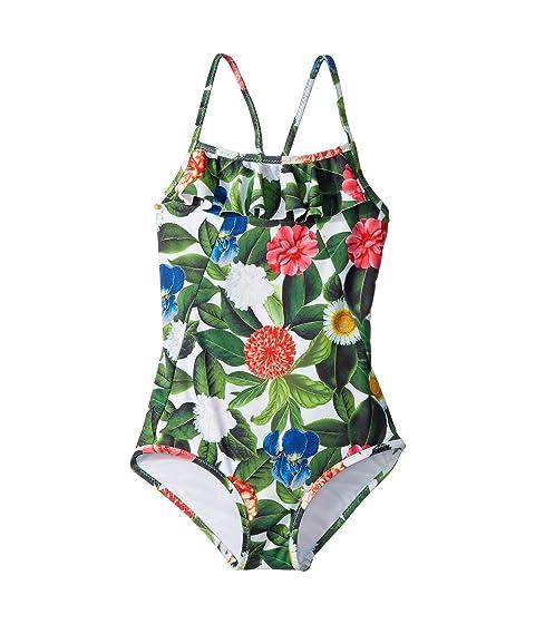 Oscar de la Renta Childrenswear Flower Jungle Ruffle Swimsuit (Toddler/Little Kids/Big Kids)