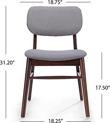 Christopher Knight Home 300015 Colette Light Grey Fabric with Walnut Finish Dining Chairs,