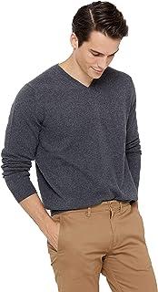Men's Essential V-Neck Sweater 100% Pure Cashmere Classic...