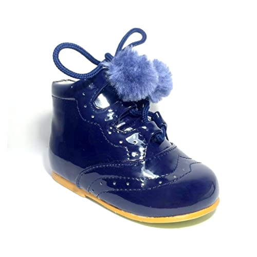 39f628a06 Tia Baby Infant Girls Spanish Pom Pom Boots Faux Patent Wedding Party Infant  Size UK 1