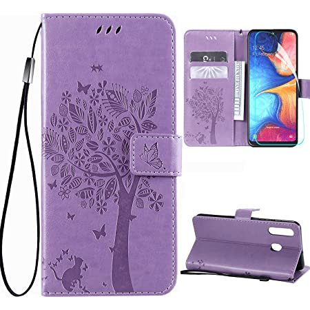 Samsung Galaxy A10e Wallet Case with Screen Protector,Galaxy A10e PU Leather Protective Case Emboss Love Tree Cat Folio Magnetic Card Holder Kickstand Flip Case for Samsung Galaxy A10e Light Purple