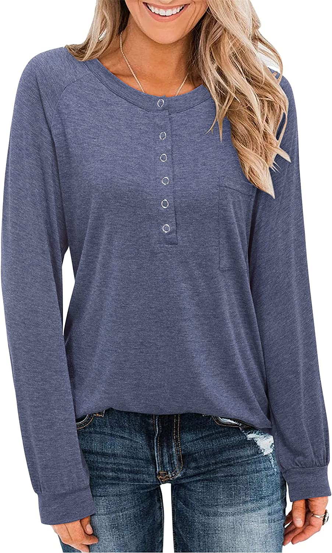 LAISHEN Women's Long Sleeve Crew Neck Button Tops Loose Casual Basic T Shirt Blouse