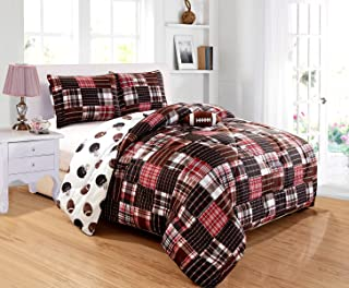 GrandLinen 4 - Piece Kids (Double) Full Size Football Sports Theme Comforter Set with Plush Toy Included-Black, Red, White and Brown Plaid. Boys, Girls, Guest Room and School Dormitory Bedding