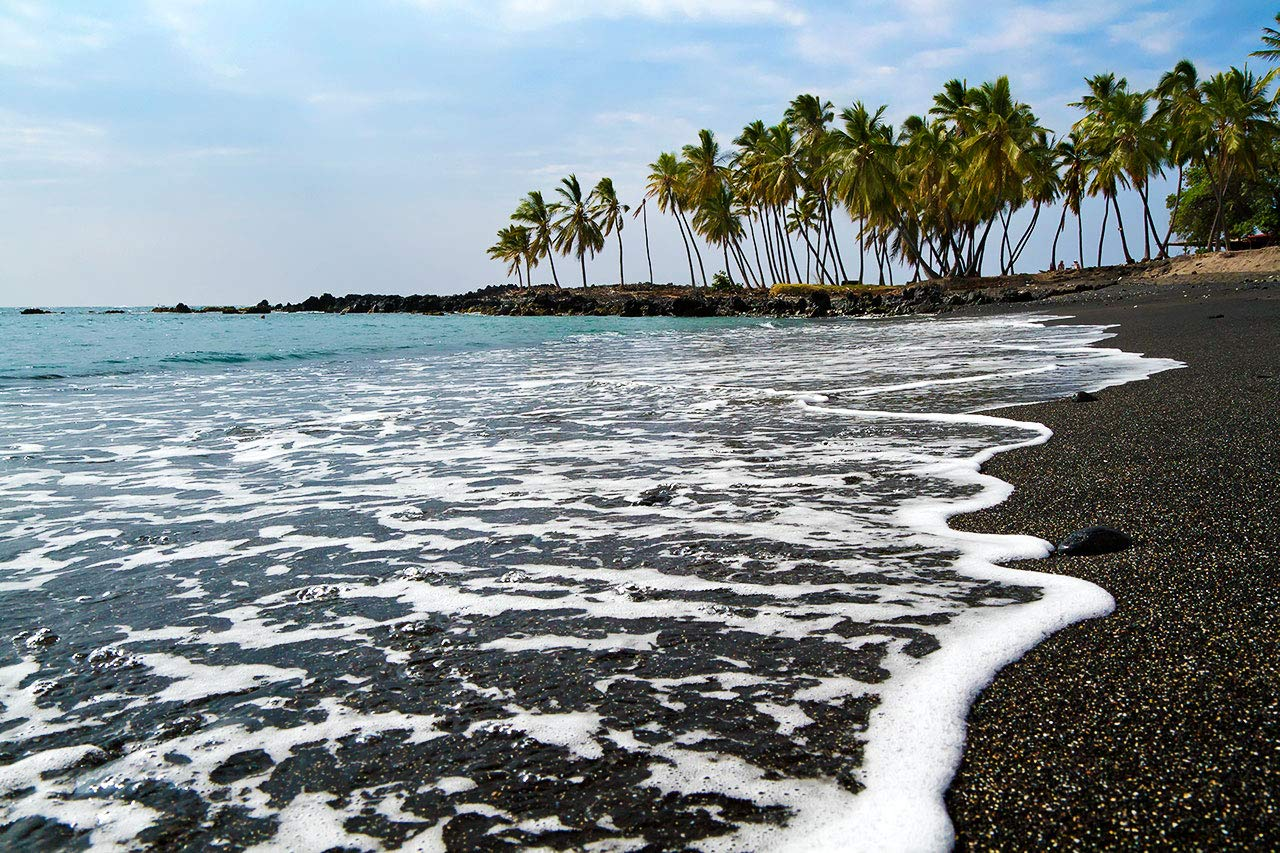 Hawaii Photography Free shipping / New Honomalino Bay Photo Sand Black Beach Special price for a limited time Print