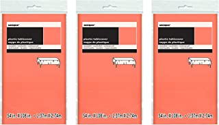 Unique Industries 3 Pack Plastic Party Tablecover (Coral, 108