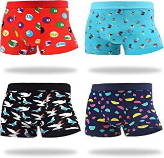 MAKABO Men's Boxer Briefs 4 Pack Novelty Colorful Funny Breathable Comfortable Cotton Casual Underwear