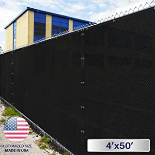 Windscreen4less Heavy Duty Privacy Screen Fence in Color Solid Black 4' x 50' Brass Grommets w/3-Year Warranty 150 GSM (Customized Sizes Available)