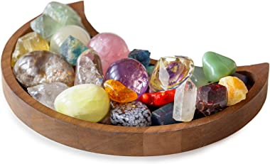 Moon Tray Crystal Holder for Stones - Crystal Tray for Stones - Wooden Box for Crystals Display Shelf - Crystal Organizer for