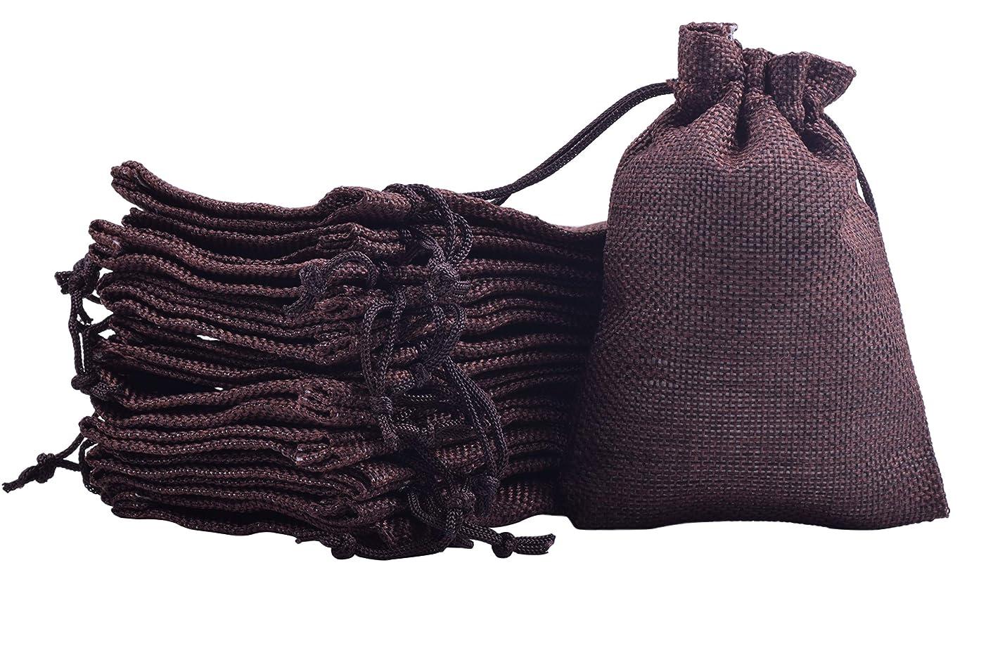 Sansam 50pcs 10cmx14.0cm/4.0''x5.6'' Brown Burlap Gift Bags Draw String Hemp/Hessian Bags, Jewelry Packing Pouches,Wedding Favor Gift Bags