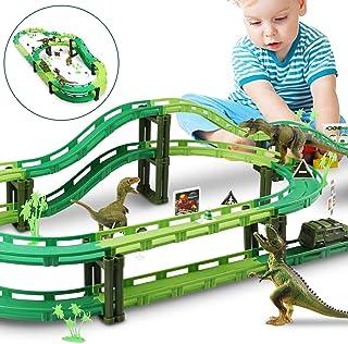 WOSTOO Dinosaurie spår leksaksset bil racerbana tågspår set med 1 bil och 3 dinosaurier leksaker för pojkar småbarn barn s...