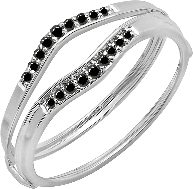 Dazzlingrock Collection 0.12 Carat (ctw) Round Black Diamond Ladies Anniversary Enhancer Guard Wedding Band, Available In 10K/14K/18K Gold