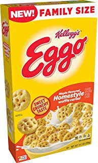 Kellogg's Eggo, Breakfast Cereal, Maple Flavored Homestyle Waffle, Good Source of 8 Vitamins and Minerals, Family Size, 14...