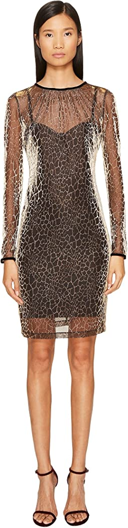 Long Sleeve Cheetah Print Overlay Dress