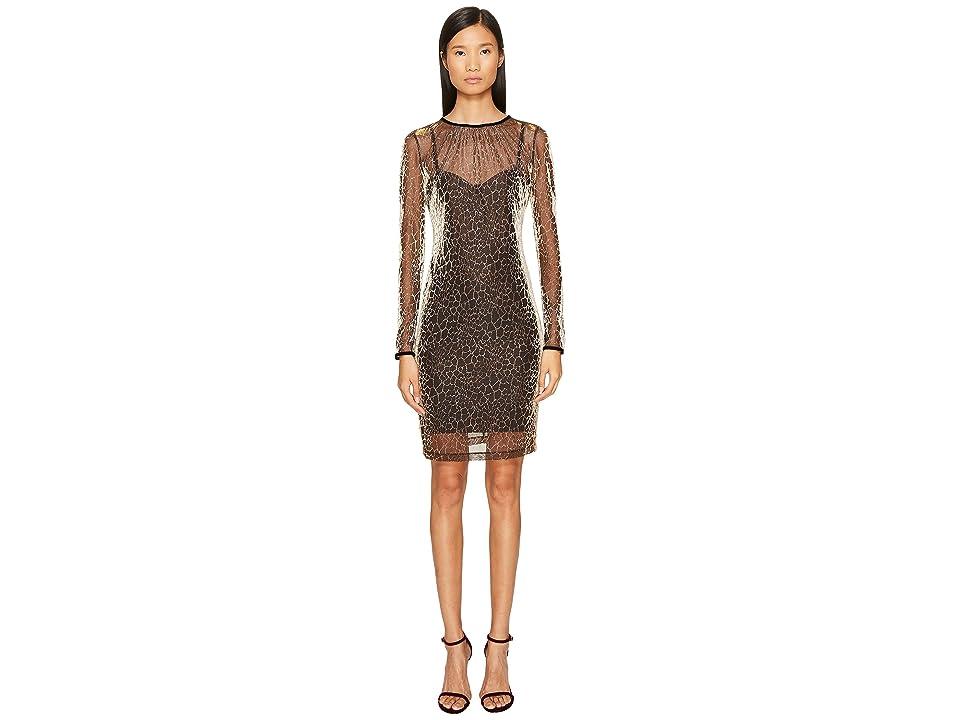 Just Cavalli Long Sleeve Cheetah Print Overlay Dress (Gold Variant) Women