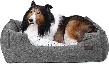 FEANDREA Hundebett, Hundekorb mit Wendekissen, Hundesofa, Hundematte, gemütlich, atmungsaktiv, rutschfest, erhöhter Rand grau